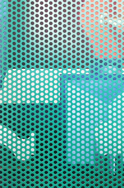 Partition screen in green perforated sheet.
